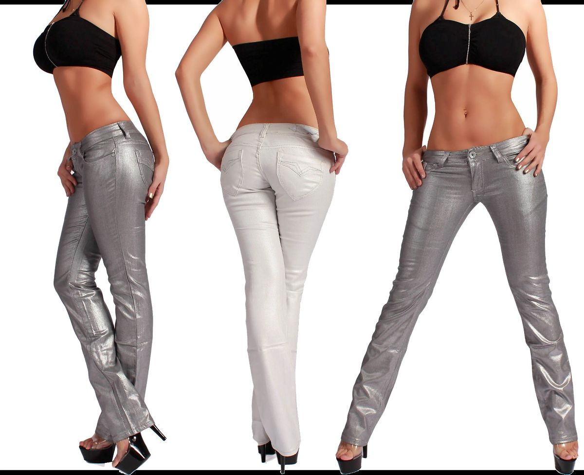 w7 new straight leg womens jeans trousers gloss silver white xxs 32 l 40. Black Bedroom Furniture Sets. Home Design Ideas